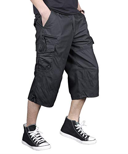 FEDTOSING Men's Cargo Shorts Loose Fit Elastic Waist Casual Cotton Long Capri Shorts with Multi-Pockets (Black 36)