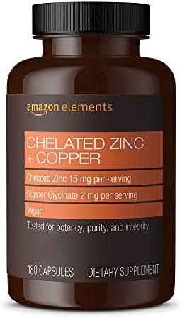 Amazon Elements Chelated Zinc Copper 15 mg Chelated Zinc 2 mg Copper Glycinate Immune System product image