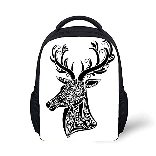 Kids School Backpack Antlers Decor,Tattoo Pattern in The Shape of a Deer Creative Decorative Portrait Black and White Decorative, Plain Bookbag Travel Daypack