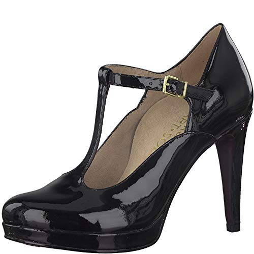 Tamaris Damen Pumps, Frauen Riemchen Pumps, Spangenpumps t-spange elegant edel Business-Schuh Office büro weiblich Lady,Black PATENT,36 EU / 3.5 UK