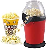 Hot Air Popcorn Popper Electric Machine Snack Maker with Removable Lid(Red)
