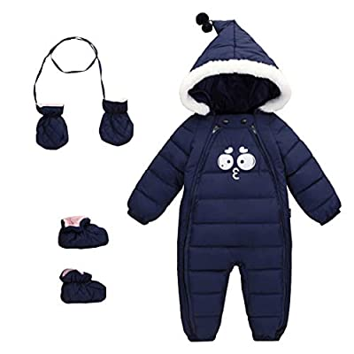Baby 3 Piece All in One Hooded Puffer Winter Thick Down Snowsuit Jumpsuit Set Navy Smile Size 100 (12-24 Months)