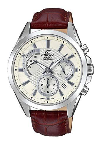 Casio Herren Chronograph Quarz Uhr mit Leder Armband EFV-580L-7AVUEF