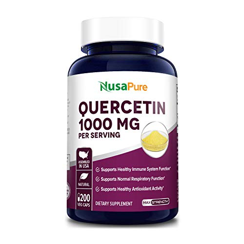Quercetin 1000 mg - 200 Veggie Caps (Non-GMO,Gluten-Free, Vegetarian) Supports Healthy Immune System and Normal Respiratory Functions.*