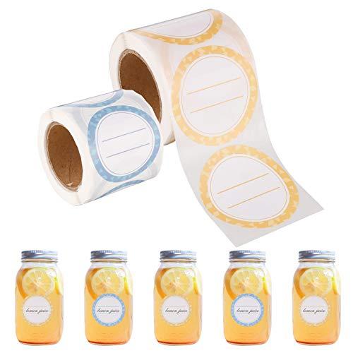 AKlamater Etiketten Marmelade, 2 Rolle 400 Stücke Auflösbare Lebensmittel Blanko Gefrierschrank Aufkleber Keine Klebereste