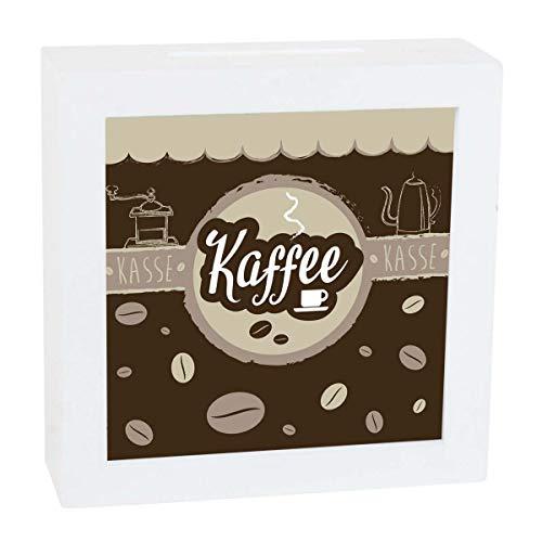 Objektkult Spardose Kaffeekasse, mit Sichtfenster, Wandspardose zum Aufhängen oder Sparkästchen zum Hinstellen, tolle Idee als Kaffeekasse, 15 x 15 x 4,8 cm, Holz und Kunststoff