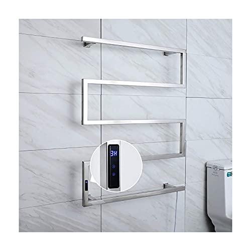 Calentador de toallas, toallero eléctrico con temporizador, calentador de toallas de acero...