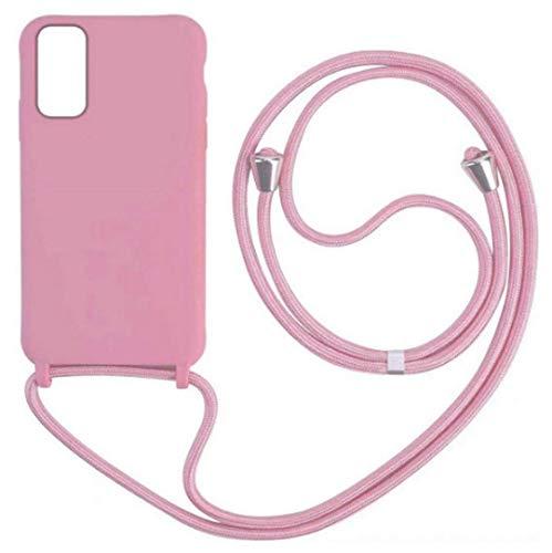 Tian_xi Custodia Compatibile con Samsung Galaxy A91/S10 Lite/M80S Cover con Pratico Cordino Tracolla/Necklace Cordoncino Laccio Silicone Necklace Case (Pink)