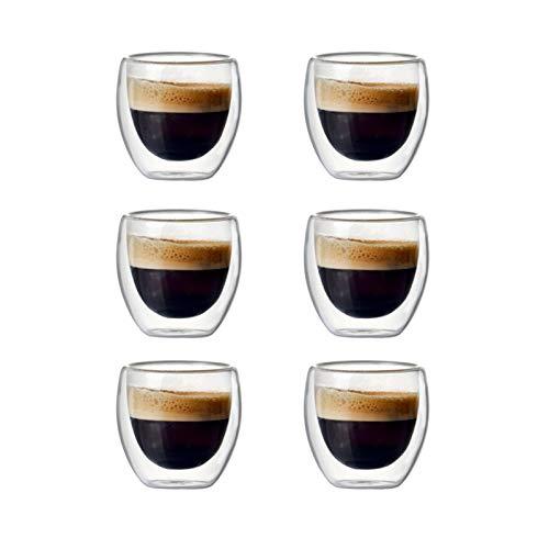 DLRBWAN Copas de Vino Conjunto de 2 / 6pcs 80ml de Doble Pared con Aislamiento de Tazas de café Resistente al Calor con Aislamiento de Calor para (Color : Set of 6 pcs)