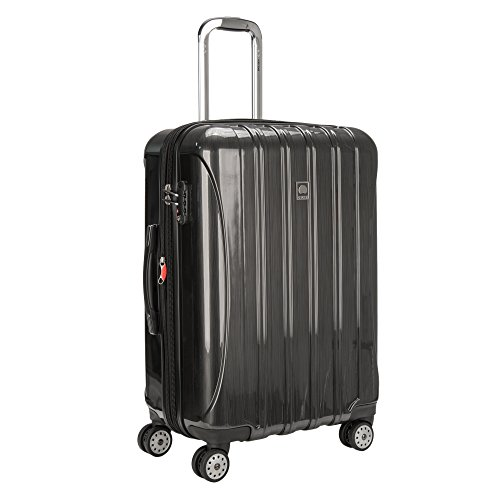 DELSEY Paris Helium Aero Hardside Expandable Luggage with Spinner Wheels, Brushed Charcoal, Checked-Medium 25 Inch