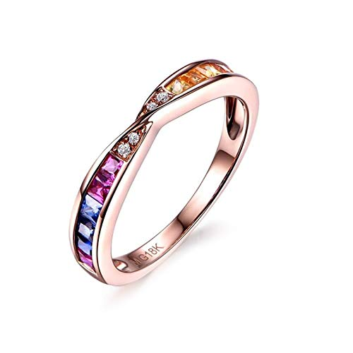 Cenliva Yellow Gold Ring Set, 18K Gold 0.61ct Diamond Accented Sapphire with Diamond VVS2-VS1 Ring Size K 1/2