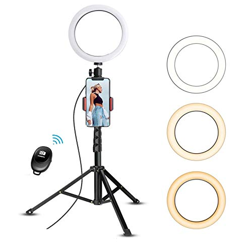 "10"" Selfie Ring Light with 59"" Extendable Tripod Stand & Flexible Phone Holder for Live Stream Makeup, Beam Electronics Desktop Led Camera Ringlight for Tik Tok YouTube Video Photo, For iPhone Android"