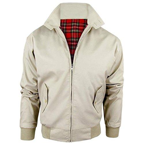 MyShoeStore Harrington-Jacke für Erwachsene, Unisex, für Damen und Herren, Vintage-Stil, Retro, 1970er-Jahre, Bomberjacke mit Schottenkaro-Innenfutter Gr. Medium, beige