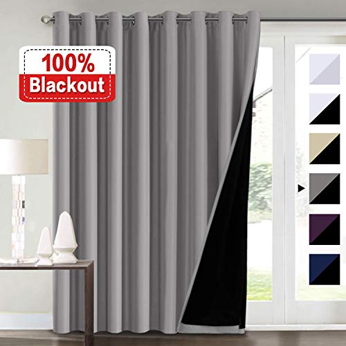 100% Blackout Curtains for Living Room Extra Wide Blackout Curtains for Patio Doors Double Layer Lined Drapes for Double Window Thermal Insulated Curtains/Draperis - Grey, 100