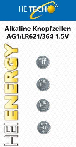 HEITECH 4er Pack AG1 Alkaline Knopfzellen Batterie 1,5V - LR60 / L621 / LR621 / SR60 / SR621 / SR621SW / 164/364 - Knopfbatterien auslaufsicher & mit Langer Haltbarkeit