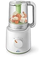 Philips Avent 2- in 1 Gezonde Babyvoedingmaker - Gezond stomen - Stomen en blenden in 1 kan - Inclusief voedingsadvies en recepten - Stomen, omdraaien en blenden - SCF870/20