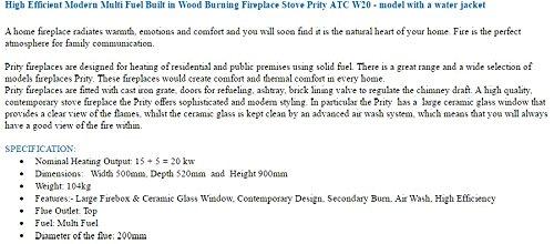 Insertar Multifuel construido en combustión de madera chimenea estufa Prity VM)