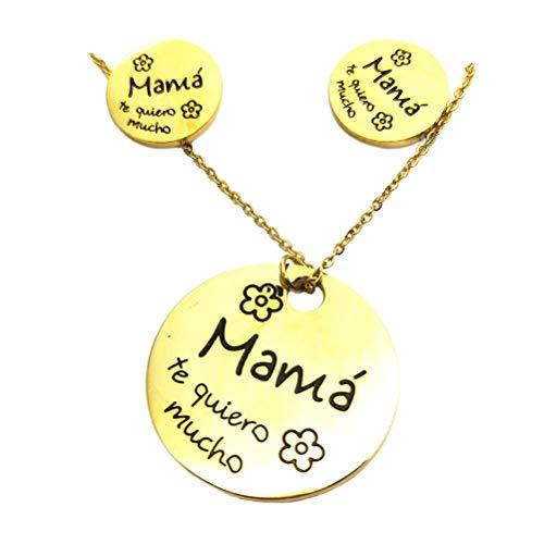 VALICLUD 1 conjunto de colar e brincos criativos e elegantes joias de aço inoxidável para o dia das mães, acessórios de festa para mulheres (gloden) Regalo Festa Della Mamma