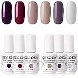 Gellen Gel Nail Polish Set - Wine Nude Grays 6 Colors, Popular Pretty Natural Nail Art Design Colors Home Gel Manicure Kit