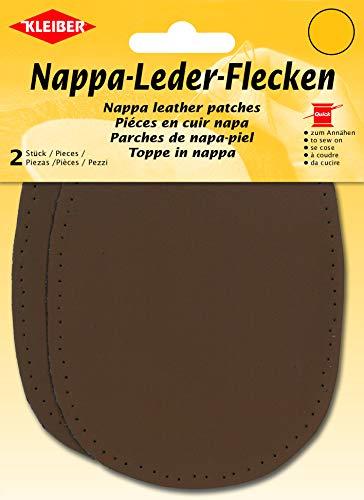 Kleiber - Coderas y Rodilleras de Cuero napa, para coserlas, 12,5 cm x 10 cm, Color marrón, 2 por Paquete