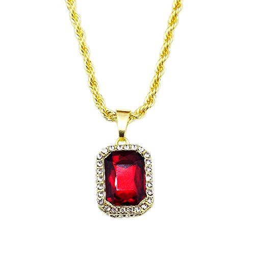 HH Bling Empire Mens Celebrity Style Hip Hop Gold Synthetic Ruby Emerald Sapphire Pendant Necklace (Lab Ruby)