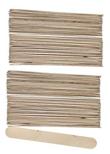 Glorex 6 2200 682 Bastelhölzer aus unlackiertem Birkenholz, in Form von Eisstäbchen, ca. 15 cm lang mit abgerundeten Enden, 100 Stück, vielseitig einsetzbar beim Basteln