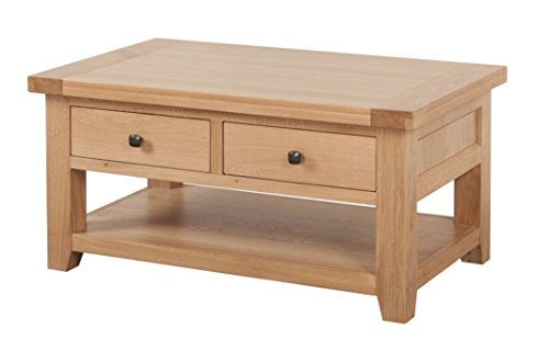 Devon Solid Oak 2 Drawer Coffee Table/Natural Oak Lacquer Living Room Table/Living Room Furniture
