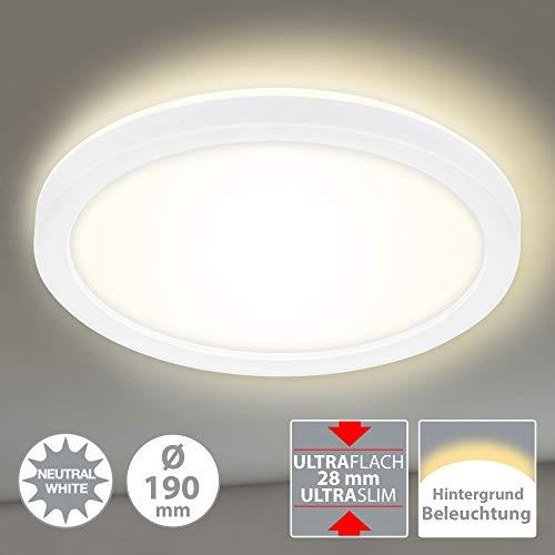 Briloner Leuchten LED Panel, Deckenleuchte, Deckenlampe mit Hintergrundbeleuchtungseffekt, 12 Watt, 1.400 Lumen, 4.000 Kelvin, Weiß, Rund, Ø 19cm