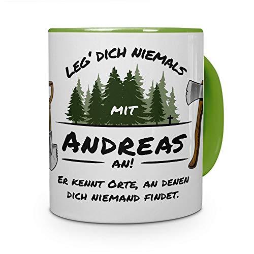 printplanet Tasse - Leg Dich Nicht mit Andreas an - Namenstasse, Kaffeebecher, Mug, Becher, Kaffeetasse - Farbe Grün