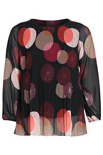 PAPRIKA Damen große Größen Plissee-Bluse mit aufgedruckten Kreisen in Mehreren Farben Rundhals Lange Ärmel