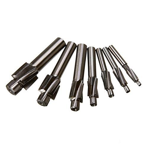 XCQ 7 stücke M3-M12 Senkkopf-Kopf-Fräser Hochgeschwindigkeitsstahl-Führungsnut-Werkzeug Endmühle Nut Bohrer Set dauerhaft 0405 (Cutting Edge Length : Multi Size)