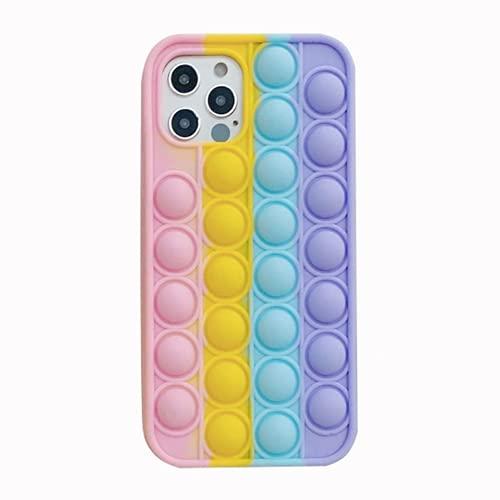 Fidget Toys - Funda de silicona suave para iPhone 6, 6S, 7, 8 Plus, XR, XS 11, 12, Pro Max regalos interesantes para todas las edades (para 7Plus o 8Plus, arco iris)