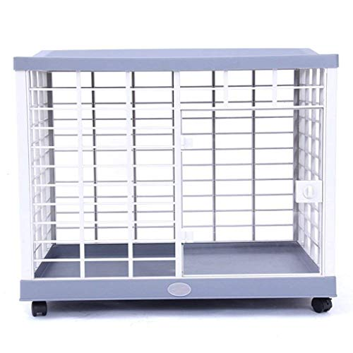 KTDT Portable Plastic Dog Crates For Medium Small Dogs With Wheel, Blue, Indoor Outdoor Pet Cat House Fence, 80 * 55 * 70cm
