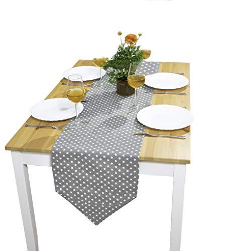 Camino de mesa premium moderno | mantel decorativo escandinavo estrellas grises 35x140 cm | camino de mesa de tela | camino de mesa de algodón tiene protección contra las manchas y es lavable