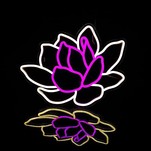JYDNBGLS Letrero de neón de flor de loto bendecido Lotus Lucky Flower LED Neon Wall Signs USB incorporado interruptor elegante lámpara de flores LED signos para dormitorio pared regalo de cumpleaños