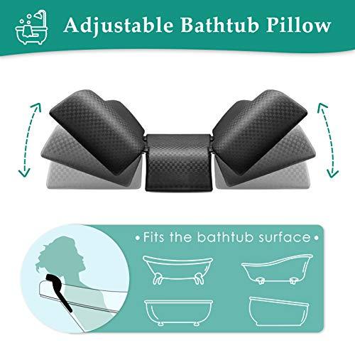 ESSORT Bath Pillow Adjustable EVA Bathtub Spa Pillow with Strong Suction Cups, Ergonomic Portable Bathtub Cushion for Women