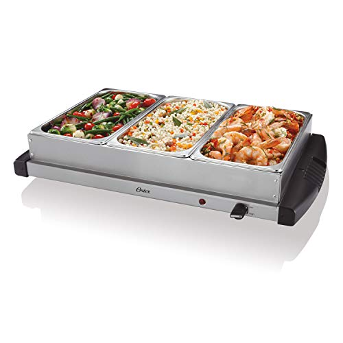 Oster Buffet Server Warming Tray | Triple Tray, 2.5 Quart, Stainless...