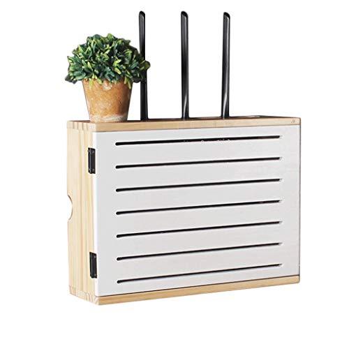 Goede decoratie Effen Hout Wifi Draadloze Router Plank - Woonkamer Multimedia Set-top Box Afscherming Box TV Kast Opbergdoos Rack Draad Plug-in Box Wandmontage