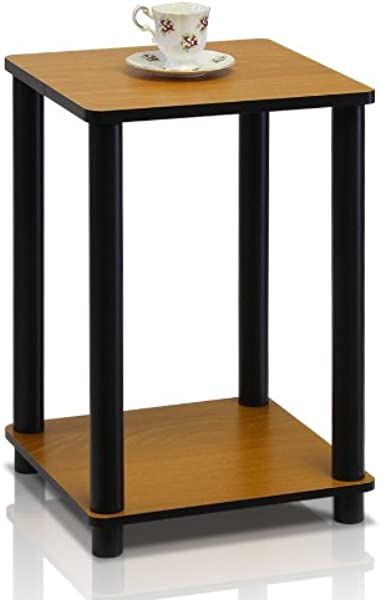 Furinno 99800R LC BK Turn N Tube End Table Light Cherry Black