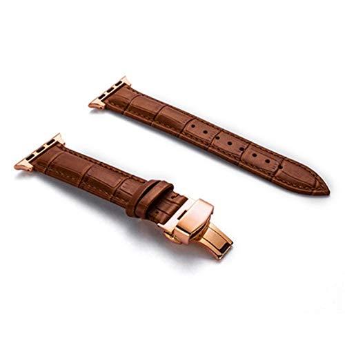 PZZZHF Correa de piel auténtica para Apple Watch 44 mm 40 mm para iWatch 42 mm 38 mm cocodrilo pulsera para Apple Watch 5 4 3 6 (color: marrón claro R, ancho de banda: 42 mm o 44 mm)