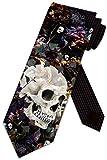 Skull Ties Mens Floral Gothic Halloween Necktie by Three Rooker