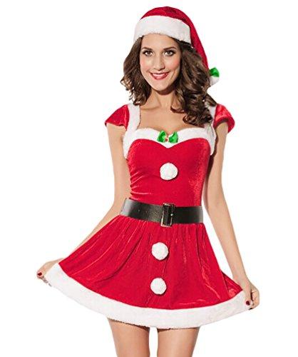 Baymate Damen Weihnachtsmann Kostüm Miss Santa Cosplay Prinzessin Kleid Kurzarm (Kleid+Hut+Gürtel)