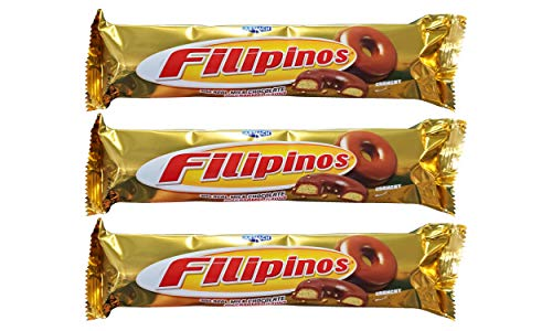 Artiach European Filipinos Crunchy with Real Milk Chocolate & Caramel Covered Biscuits (3 Pack, Total of 14.4oz)
