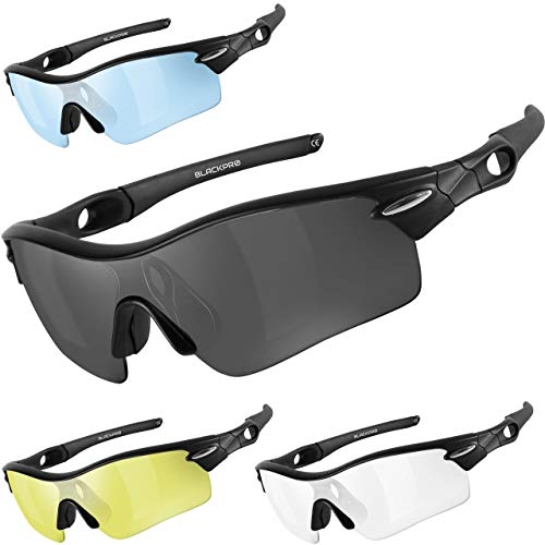Polarized Sports Sunglasses with 4 Interchangeable Lenses UV 400 Protection...