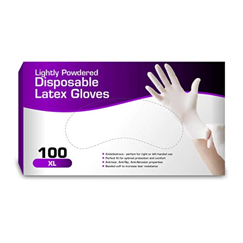 Chef's Star Latex Disposable Gloves, Comfortable, Lightly Powdered, Natural 100 per Box (Extra Large)