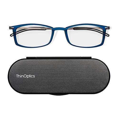 ThinOptics Brooklyn Lesebrille 1.0 Blau Rahmen + Milano Magnet-Etui - Kompakte Faltbare Lesebrille 1.00, 0.06kg