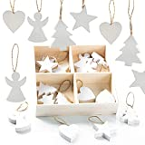 Logbuch-Verlag 24 pequeños colgantes navideños de madera, color blanco – Decoración navideña para árbol de Navidad, corazón, estrella, árbol, ángel