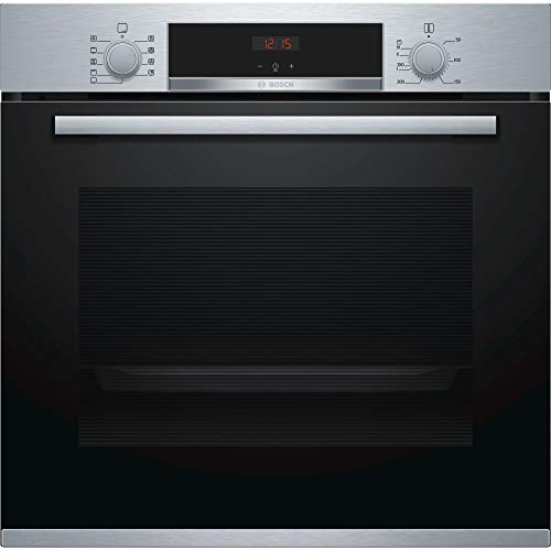 Bosch Serie 4 HBS534BS0B Built-In Single Electric Oven with 3D Hotair, Electronic Clock Timer, Halogen Light And Red LED Display (Stainless Steel)