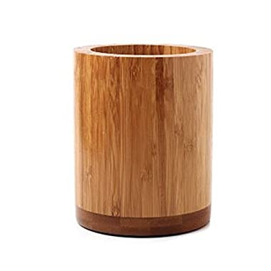 OC Design Eco-Friendly Natural Bamboo Wood Kitchen Utensils Holder - Round Non Slip - Spoon Spatula Chopsticks Organization - 4  X 5