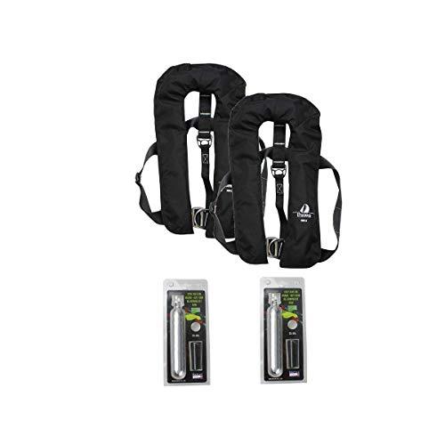 12skipper 2er-Sets Automatik-Rettungswesten 300N ISO UML   (Schwarz, 300N Harness + 2 Wartungskits)